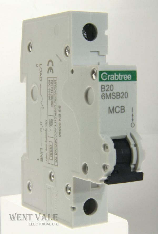 Crabtree Loadstar - 6MSB20 - 20a Type B Single Pole MCB Latest Style Unused